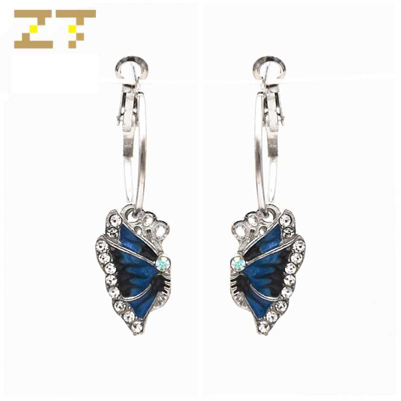 Hot Sale Fashion Exquisite Crystal Statement Vivid Blue Butterfly Pendant Big Silver Hoop Earrings for Women Jewelry Oorbellen