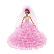 1PCS Princess Pink Wedding Dress with Veil for Barbie Doll Clothes Accessories Play House Dressing Up Costume Kids Toys Gift