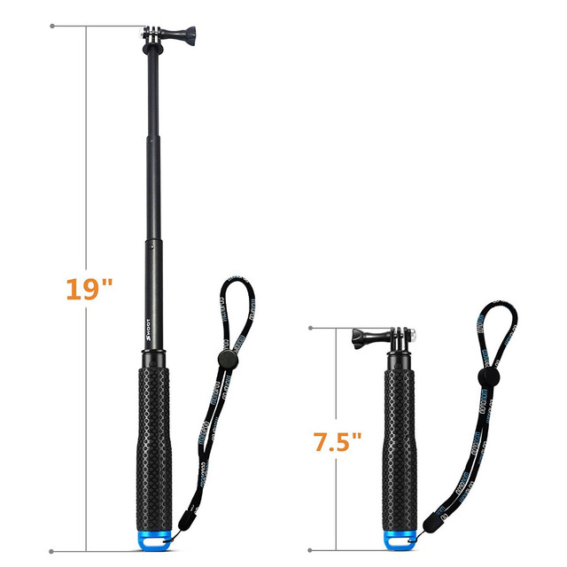 SHOOT 19-49cm Portable Selfie Stick Extendable Monopod For Gopro 5 4 3 Xiaomi Yi 4K SJCAM SJ4000 Camera Self Pole