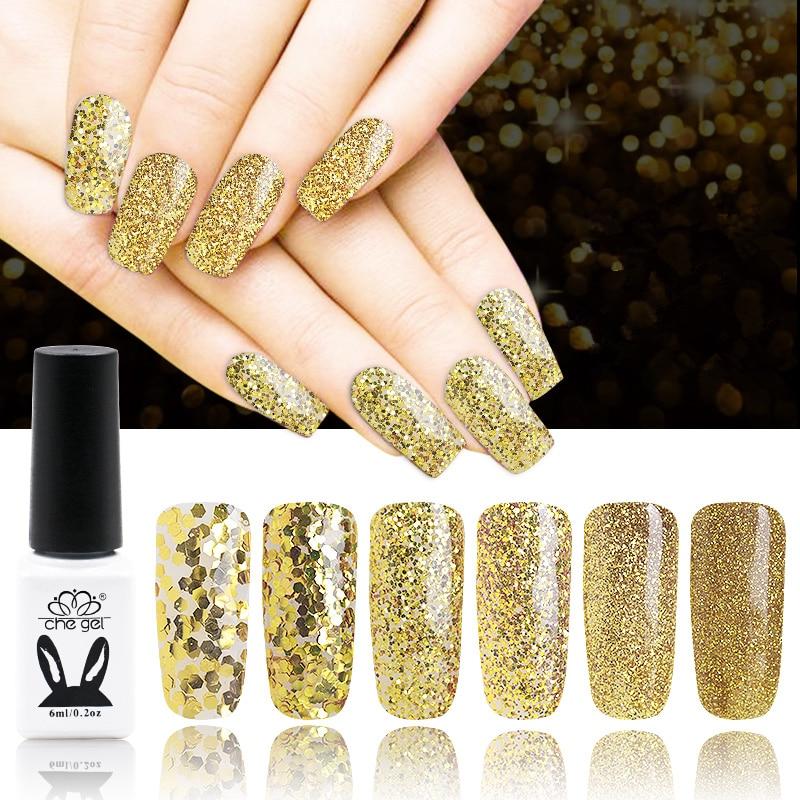 6PCS led uv gel glitter gold powder sequins Gel Nail Polish Gel ...