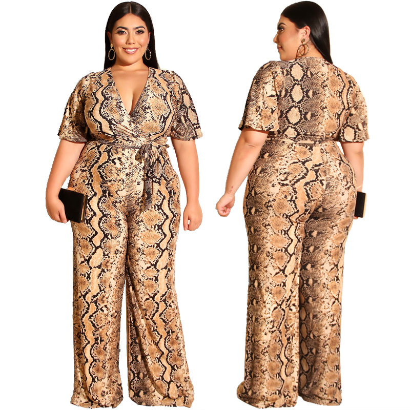 Summer Women's Casual Style Straight   Jumpsuit   Long Pant Short Sleeves Sexy V-neck Snakeskin   Jumpsuit   with Belt Plus Size