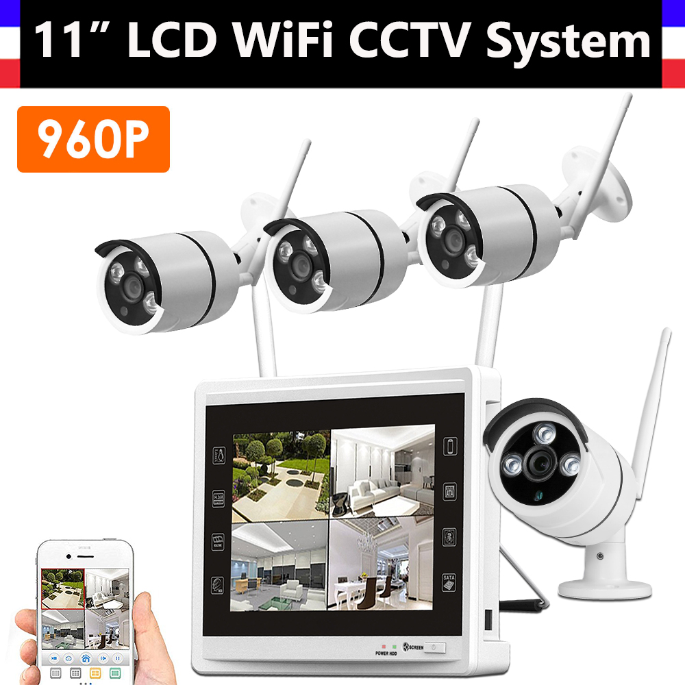 4CH Wireless Wifi 960P CCTV System with 11inch Monitor 4 Channel NVR + 4PCS 960P IP Camera Home Security Video Surveillance Kit