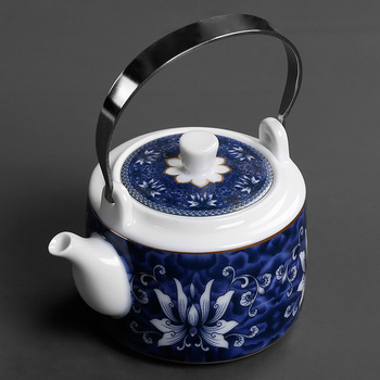 China Jingdezhen porcelain kungfu teapot ceramic large capacity large blue and white Japan cold water kettle tea pot household