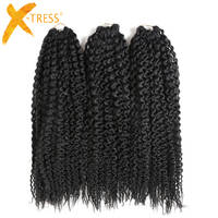 X-TRESS Synthetic Braiding Hair Pre-loop Island Twists Unraveled Senegalese Twist Curly Crochet Braids Freetress 16inch 3 Pieces