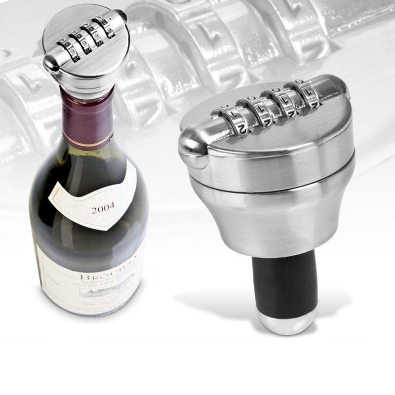 Red Wine Bottle Lock Combination Locks Costom Code Password Cork Bottle Stopper Preserva ...