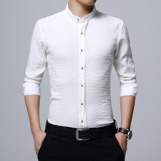 2018 новый бренд Для мужчин; Повседневная рубашка с длинным рукавом пластинчатые воротник легкий уход без воротника рубашки Slim Fit рубашка для Для мужчин бизнес