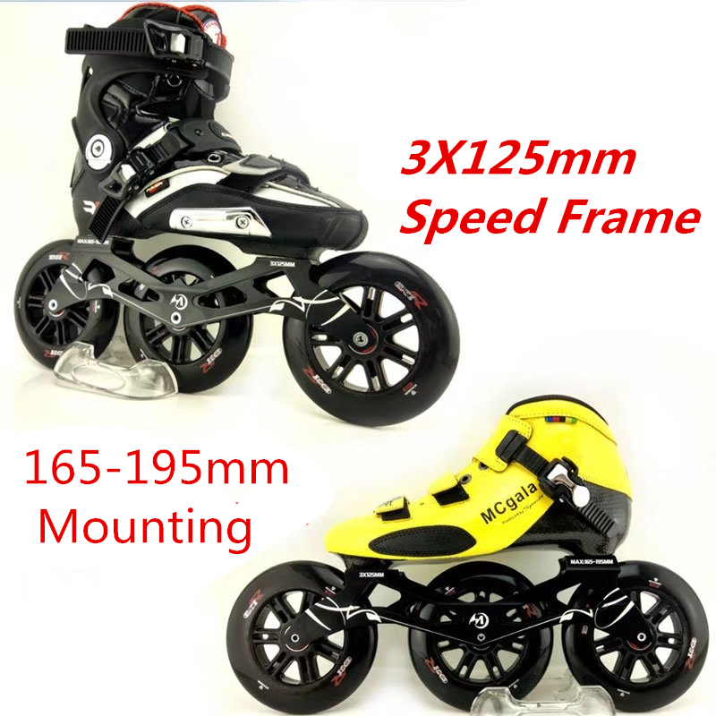 Inline Speed Skates Frame Wheel Bearing Combination for 3X125mm Skating base 125mm 85A Marathon Racing Rodas 165mm 195mm Mount [7000 aluminium alloy] original vortex inline speed skate frame base for 4x110mm 4x100mm 4x90mm skating shoe bcnt sts cityrun