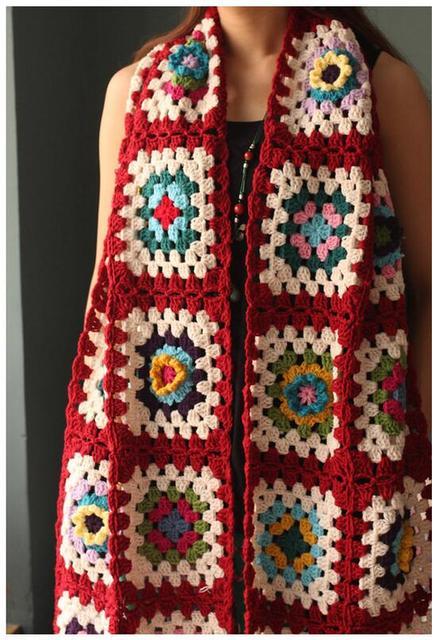 handmade crochet flowers table runner 200x33cm colorful throw shawl
