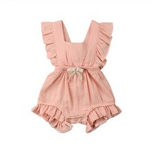 Newborn Baby Girl Boy Summer Ruffle PP Cotton Rompers Hot play Party G