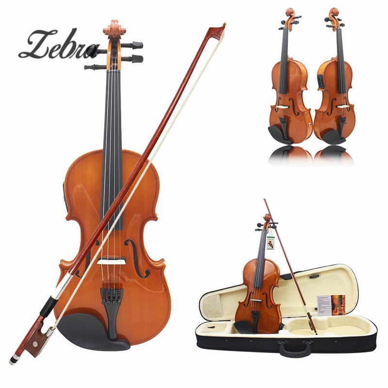 Full Size 4/4 Solid Basswood Electric Acoustic Violin With Violin Case Bow Rosin Parts Accessories For Musical Instruments Lover transparent 4 4 violin led light send violin hard case electric violin with colorful power lines and violin parts for lover