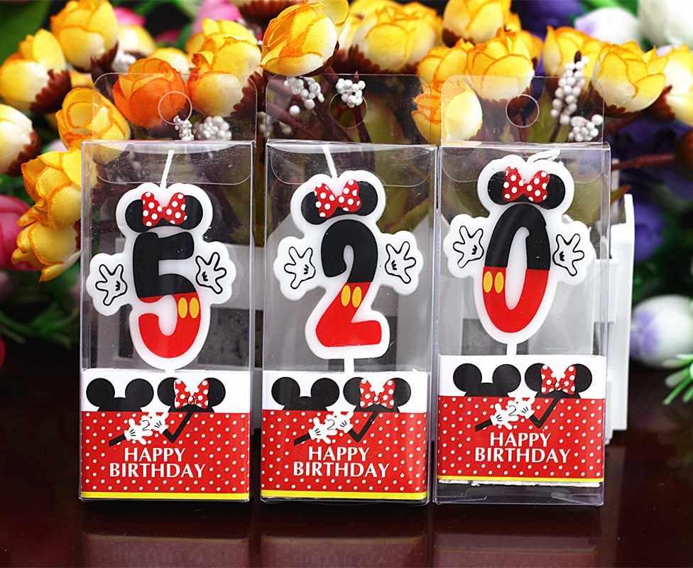 1pc Mickey Minnie Mouse vela 0 1 2 3 4 5 6 7 8 9 Aniversario números para tarta edad vela para fiesta de cumpleaños suministros Decoración