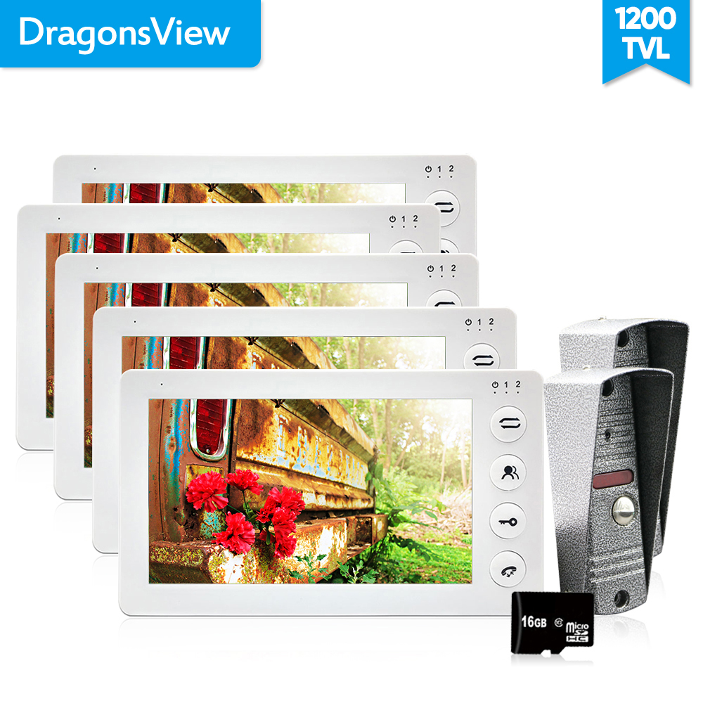 Dragonsview  Multi Apartment Video Door Phone Intercom System 5 Monitos With 2 Doorbell Camera  7 Inch 1200TVL HD Fashionable