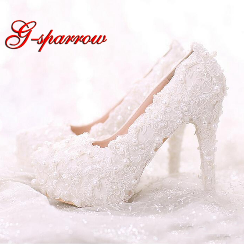 Comfortable High Heels White Pearl Sweet Lace Bridal Shoes Bouquet Wedding Party Dress Shoes 2018 Latest Beautiful Women Shoes все цены