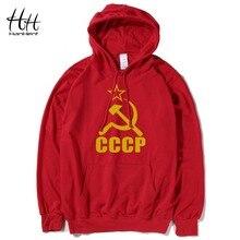 Hanhent cccp rot neuheit männer hoodies sowjetunion baumwolle langarm dünne sweatshirts russische armee fitness fashion clothing