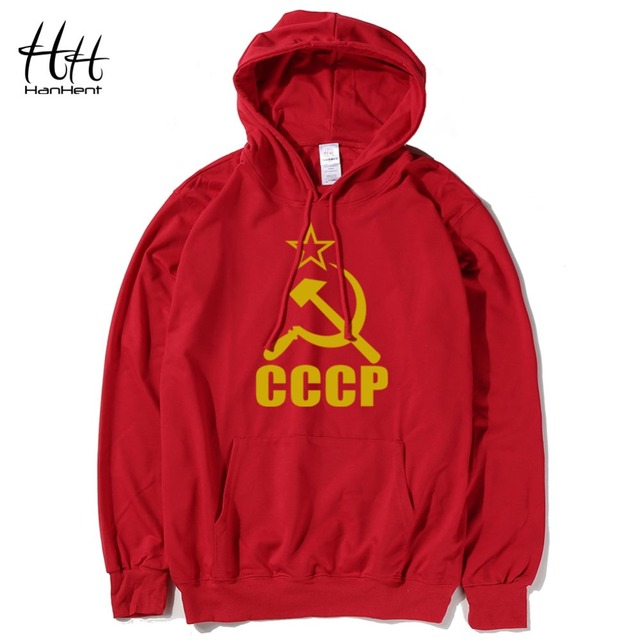 HanHent CCCP Red Novelty Men's Hoodies Soviet Union Cotton Long Sleeve Thin Sweatshirts Russian Army Fitness Fashion Clothing