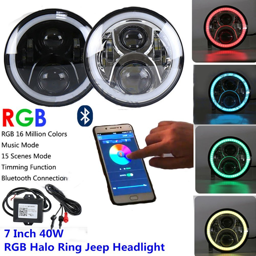 7 inch LED RGB Headlight,7'' Round DRL Headlamp Flashing RGB Angel Eye Halo Ring Bluetooth Controlled For Lada 4x4 urban Niva 7 round led headlight conversion kit with halo angel eye ring