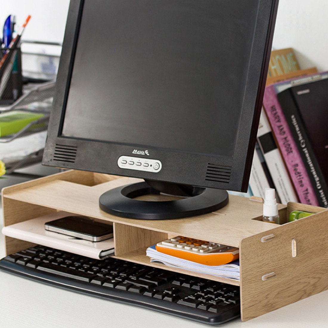 Cheap desktop computer - Hipsteen Diy Desktop Computer Monitor Riser Stand Desktop Wooden Monitor Riser With Storage Slots Storage Holder