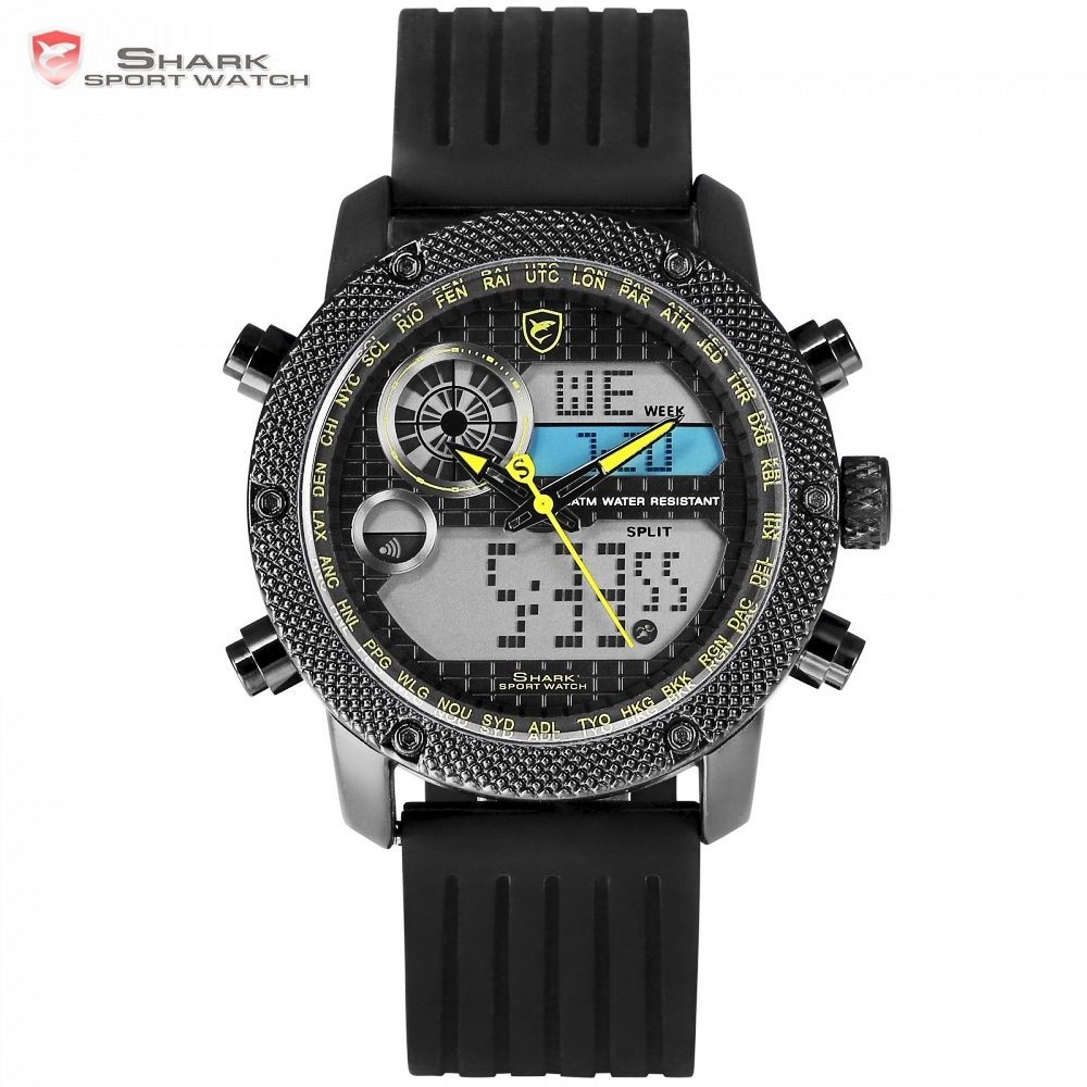 Top Brand Luxury Shark Watches Chronograph LCD Digital Silicon Band Design Analog Quartz Relogio Masculino Men Watches / SH587Top Brand Luxury Shark Watches Chronograph LCD Digital Silicon Band Design Analog Quartz Relogio Masculino Men Watches / SH587