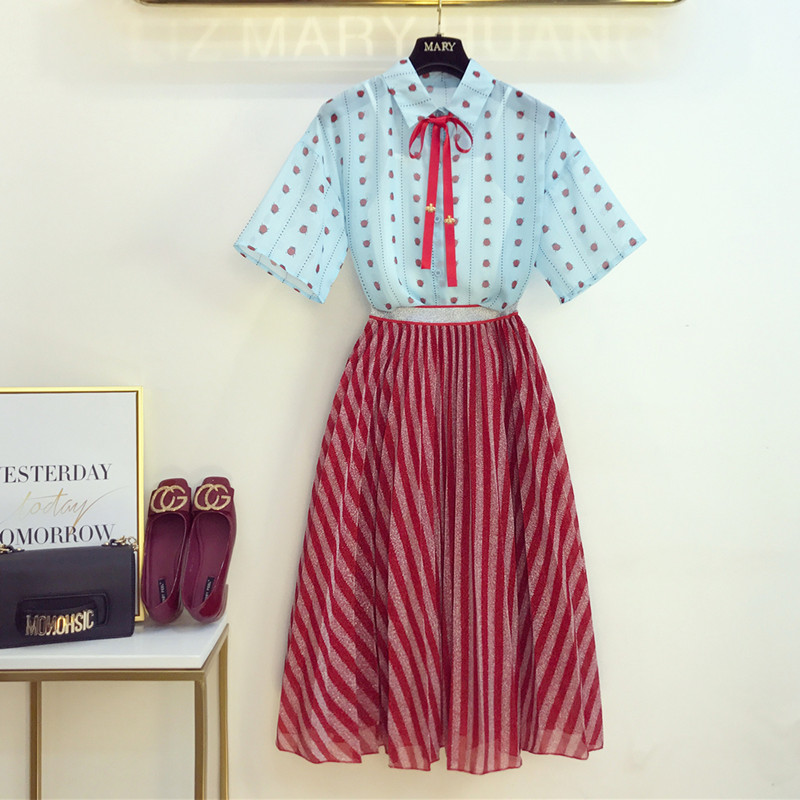 Women Ladybug Print See Through Bees Bow Chiffon Shirt Blouse+Bling Metallic Silk Tutu Striped Skirt Set 2019 Summer 2 Piece Set
