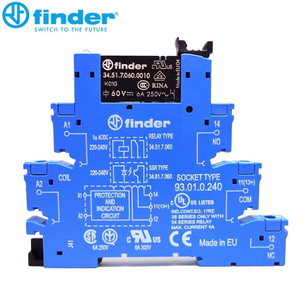 Relais d'origine finder 38.51.0.240.0060 (34.51.7.060.0010 + 93.01.0.240) relais mince 220-240V 230VAC/DC Finder