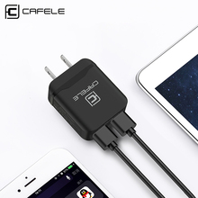 Cafele USA Plug Dual USB Charger DC 5V 2.4A 12W Mobile Phone Charger for iPhone Laptop Universal Portable Travel Wall Adapter
