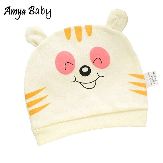 Amya Baby Newborn Baby Cap 100% Cotton Unisex Baby Caps For Boys Girls Cartoon Newborn Hat Boy Girl Hats Caps Baby Acccessories