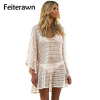 Feiterawn 2017 Summer Women Sexy Holiday Beach Oversize Full Sleeve Knitted V Neck Hollow Out Loose