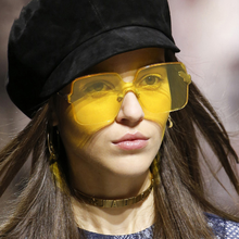 Candy Color Sunglasses Women 2019 Oversized Framless Luxury Design Eye Sun Glasses Shades for Vintage Fashion