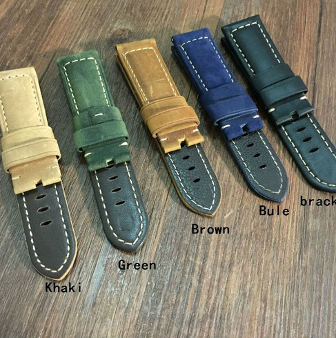Khaki/Green/Black/Blue/Brown Handmade Leather Watchbands, 22MM/24MM/26MM Retro Crazy Horse Hide Straps, For Pam Watchbands цена