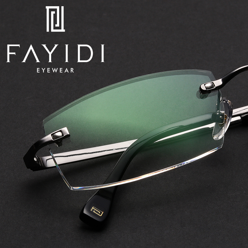 Optical Metal Eyeglasses Men Myopia Presbyopia Prescription Transparent Anti Blue Ray Photochromic Lens Rimless Glasses #F115