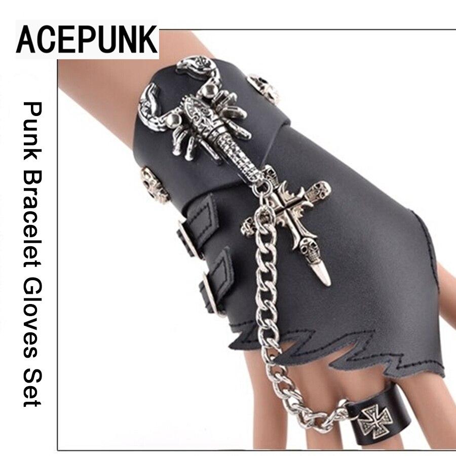 Cross Scorpion Bracelet Gloves Set Punk Bracelet Set Hand Glove Chain Link Wristband Bracelets & Bangles Pulseira Masculina