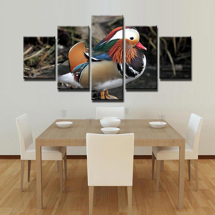 Duck Home Decor: Framed Canvas HD Prints Pictures 5 Pieces Mandarin Duck
