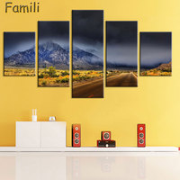 Modular Pictures Wall Art Poster Frame Home Decor For Living Room 5 Pieces Highway Painting Canvas