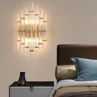 Modern led Crystal Wall Lamp Living Room Restaurant Bathroom Crystal Lights Study Bedroom Bedside Wall Lights Golden Wall Lamp