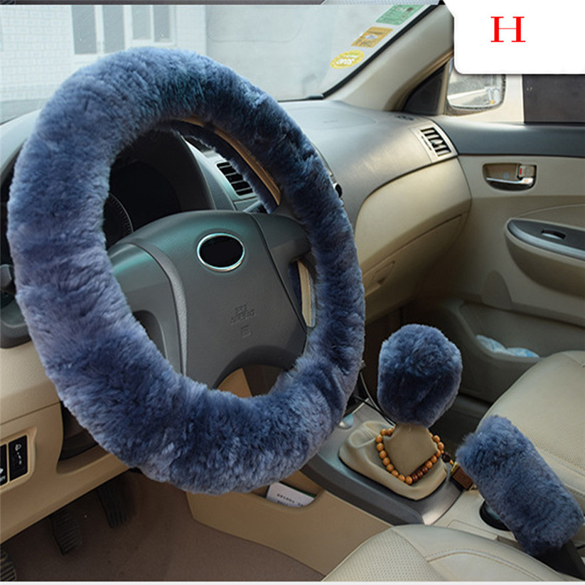 Car-styling KAKUDER Plush Warm Steering Wheel Cover Woolen Handbrake Ca