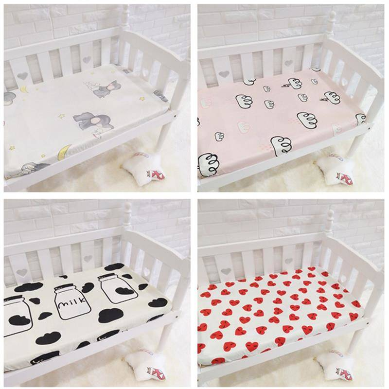 Lovely Pattern Mini Crib Mattress Cover For Newborns Cotton Fitted Sheet Universal Size Bed Sheet Infant Beddings For Cot