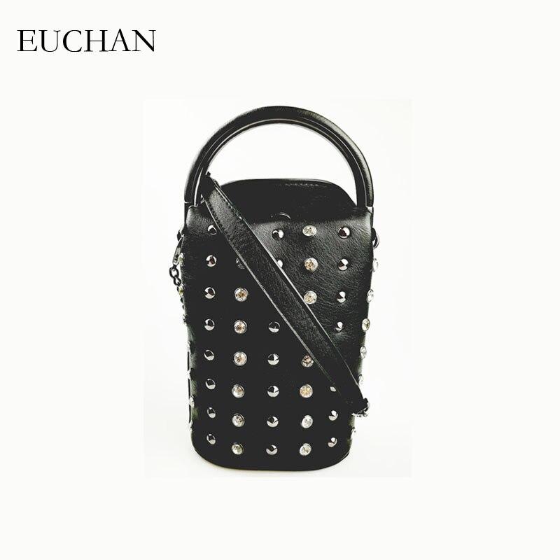 Euchan Women Handbags with Short Handle Ladies Crossbody Bags Diamonds Messenger  Bags Black PU Leather Mini dde15ff8bc0c