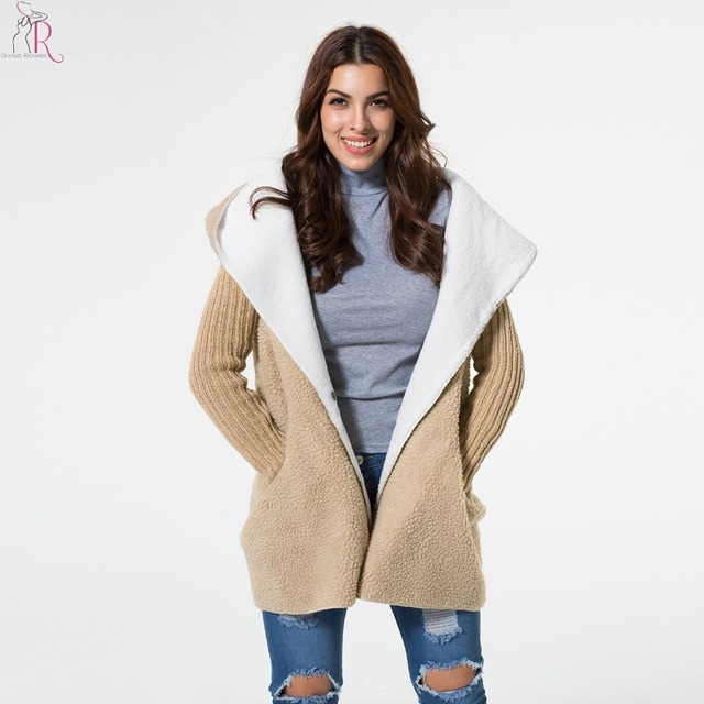 Women Coat Parka Fleeced Patching Knitted Long Sleeve Hooded Loose Casual Oversized High Street Outerwear 2017 Fall Fashion
