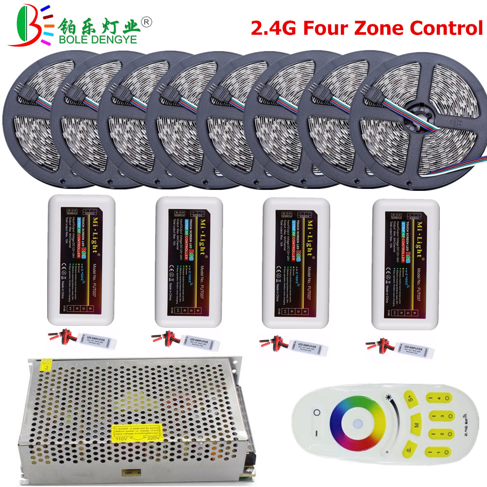 BO LED ENGYE 2.4G Mi lumière quatre zones contrôle 5050 RGB LED bande 12 V 30 LED s/m bande Flexible pour la décoration de chambre à coucher salon
