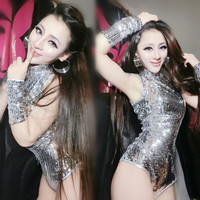 Fashion Silver Bodysuit Singer Twirled Clothing ds Costume Sexy Sparkling Sequin Dancewear