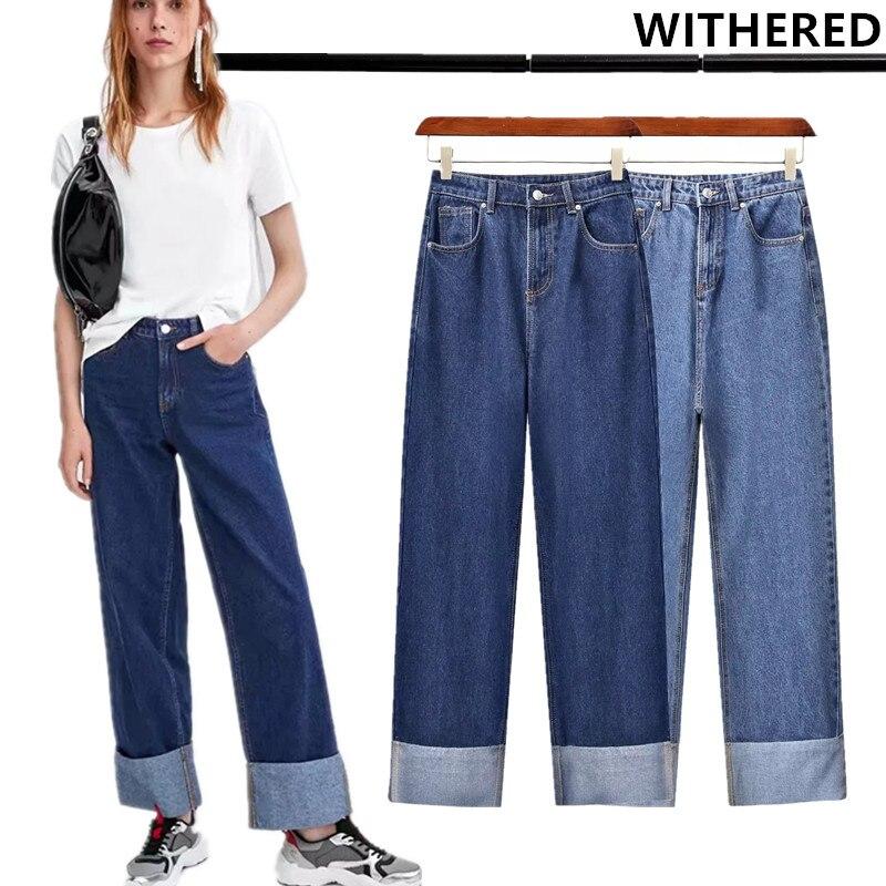 Джинсы женские, винтажные, свободные, с высокой талией