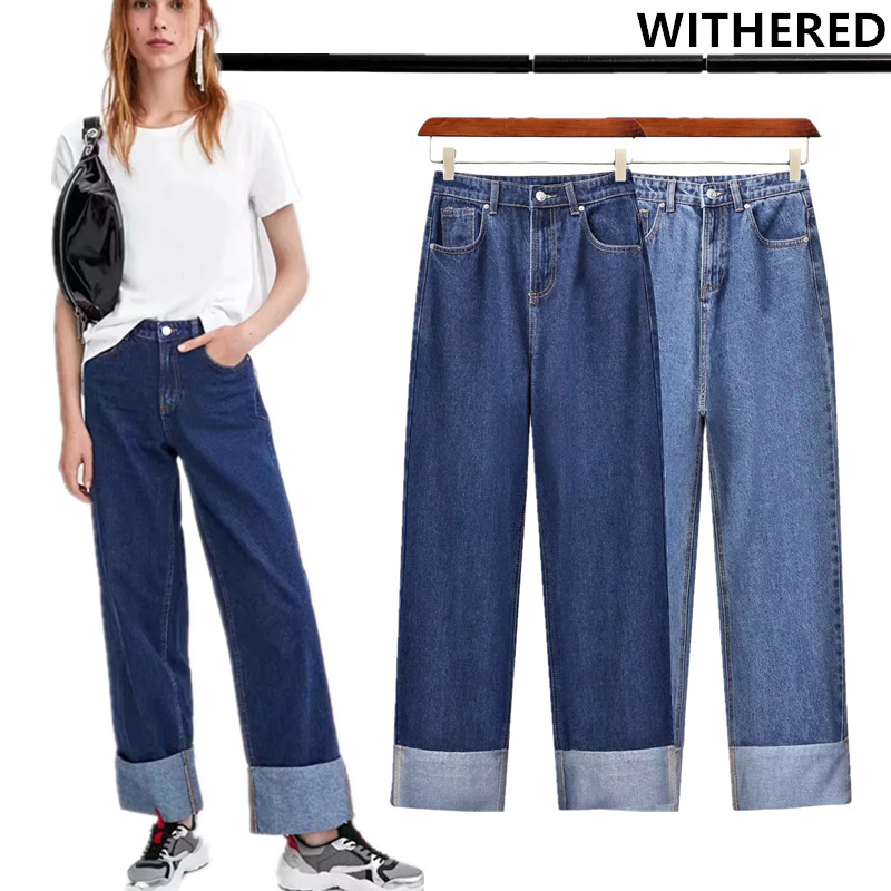 Withered  Jeans Women High Street Vintage Mom Jeans Washed Roll Up Cuffs Wide Leg Pants Women High Waist Loose Jeans Plus Size