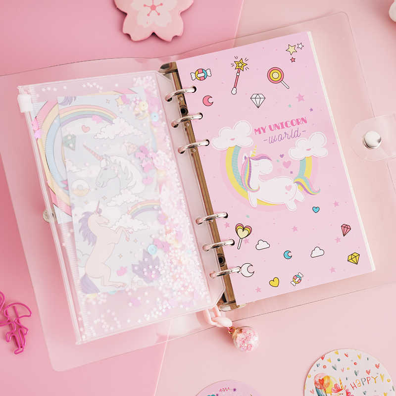 7291aab7b8 2019 INS Unicorn Planner Book Suit A6 Spiral Notebook Hand-book Students'  Supply Office Stationery Learning Gift for Girl