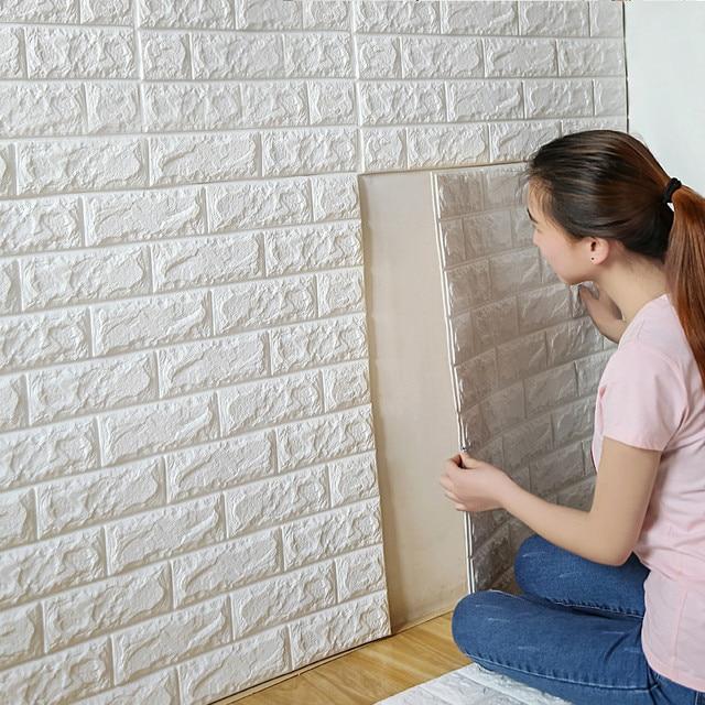 70X30CM PE Foam 3D Wall Stickers Home Decor Wallpaper DIY Wall Decor Brick  Living Room Kids