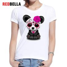 REDBELLA T Shirt Women Ulzzang Parody Cool Humorous Punk Panda Rose Rock Funny Animals Graphic Clothing Short Sleeve Cotton Tops