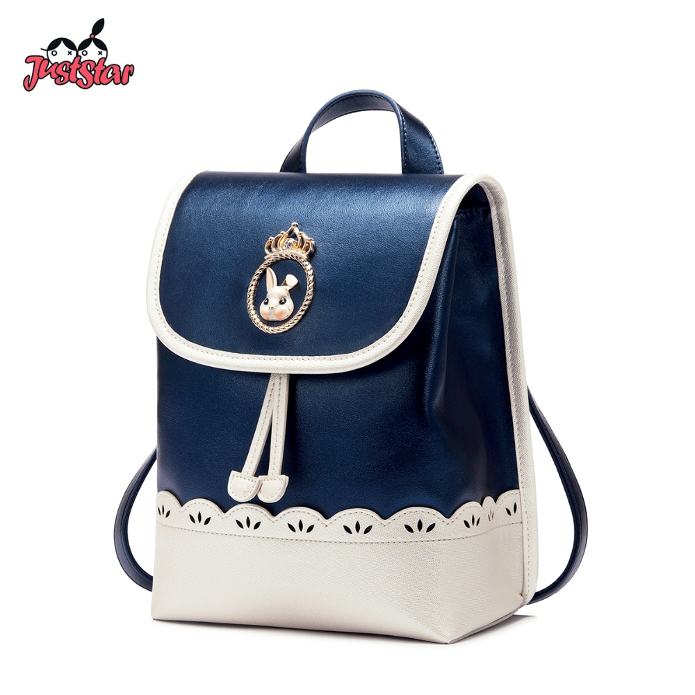 JUST STAR Female Cartoon Rabbit PU Leather Double Shoulder Bags Ladies Hollow Patchwork Daily Rucksack JZ4610