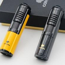 COHIBA зажигалка для сигарет, металлический ветрозащитный фонарь, Карманный Зажигалка с бутановым газом