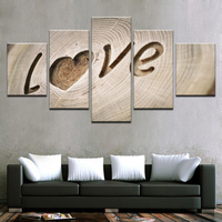 Canvas Modern Printed Paintings Wall Art 5 Pieces Carving Love Quotes Posters Home Decor Modular Love