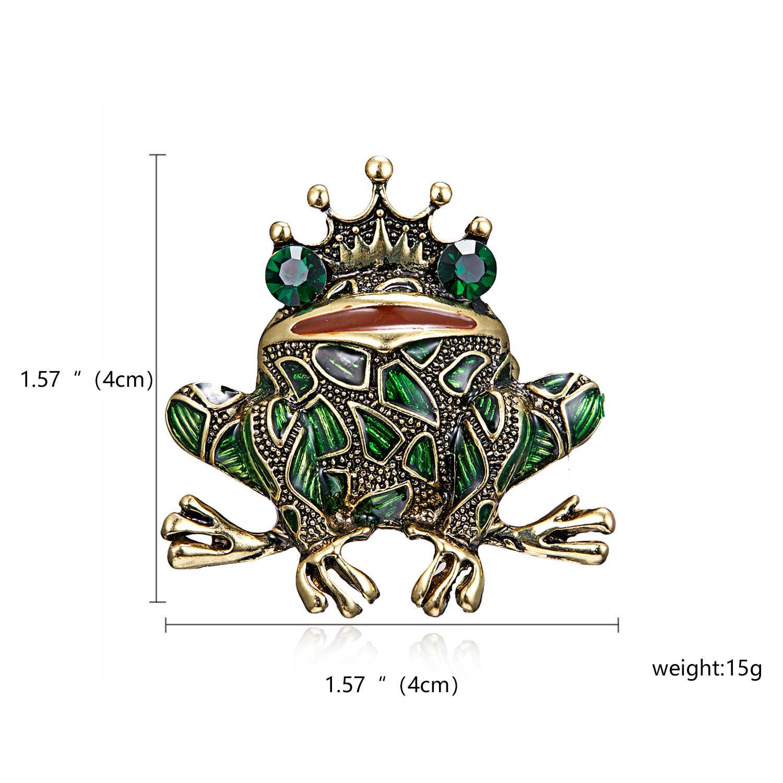 Rinhoo Кристалл Броши лягушка для женщин зеленый цвет брошь булавка в виде животного Роскошные Винтажные Ювелирные изделия пальто аксессуары бижутерия FrogKing