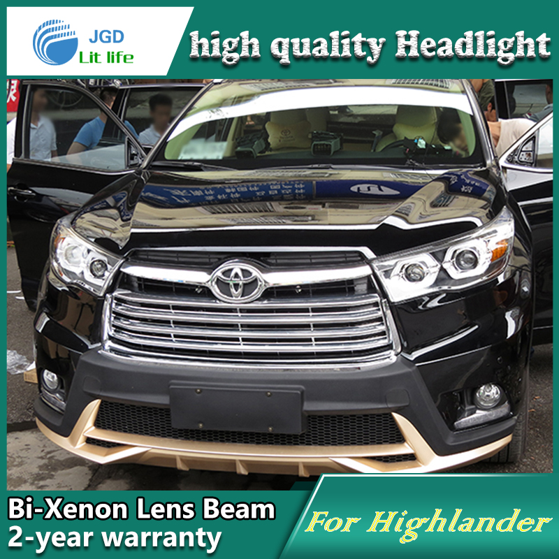 Car Styling Head Lamp case for Toyota Highlander 2015 2016 LED Headlights DRL Daytime Running Light Bi-Xenon HID Accessories